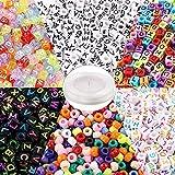 Outuxed 1400 Stück Buchstabenperlen und Großlochperlen in 6 Stilen mit 1 Rolle 50-Meter Elastikschnur für Armbänder, Halsketten, Schlüsselanhänger und...