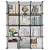 LANGRIA Bücherregal 12 Kubus Offen Draht Stufenregal Regalsystem Schuhregal Wohnzimmer Schrank für Bücher, Kleidung, Spielzeug und Schuhe [Zurück zur...