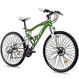 KCP 27,5 Zoll Mountainbike Fahrrad - MTB Attack grün Weiss - Vollfederung Mountain Bike Unisex für Herren, Damen oder Jungen, MTB Fully mit 21 Gang Shimano...